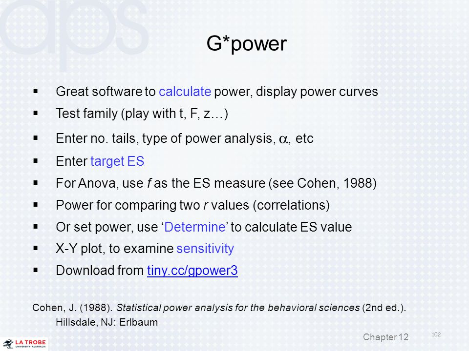 G*power Great software to calculate power, display power curves