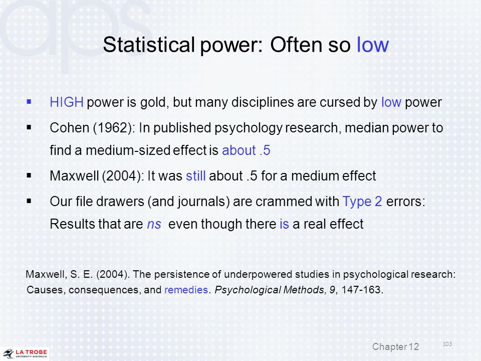 Statistical power: Often so low