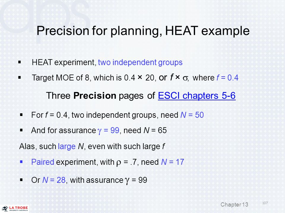 Precision for planning, HEAT example