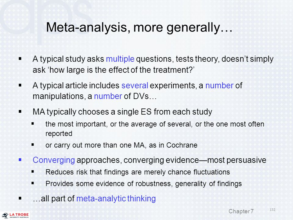 Meta-analysis, more generally…