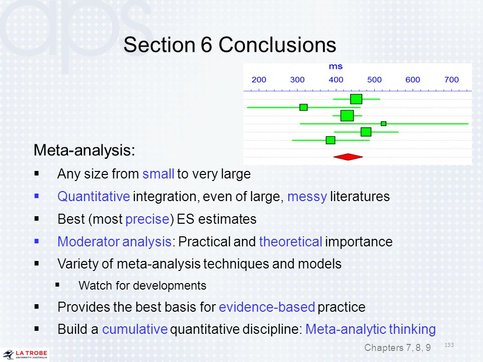 Section 6 Conclusions Meta-analysis: Any size from small to very large