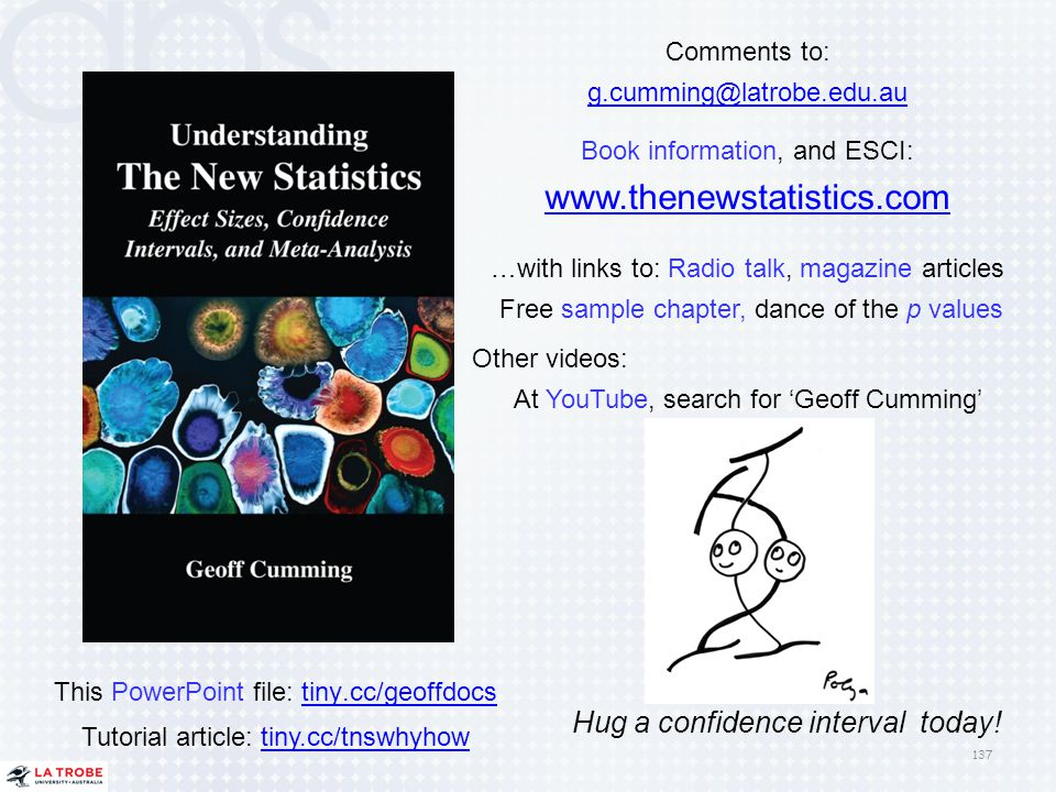 www.thenewstatistics.com Hug a confidence interval today! Comments to:
