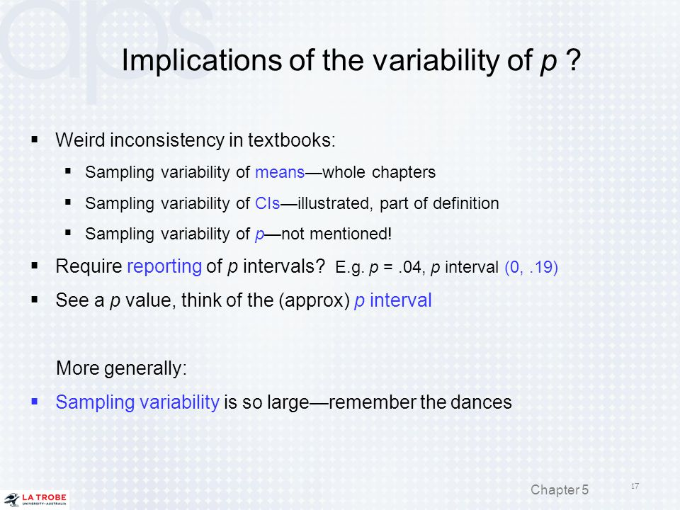 Implications of the variability of p