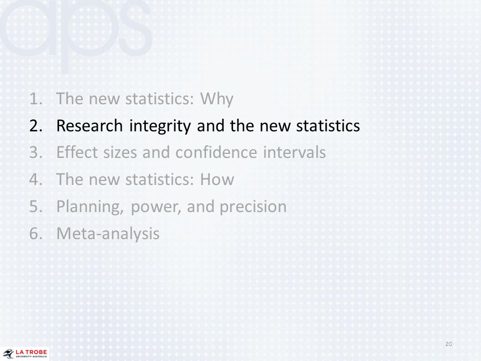 The new statistics: Why