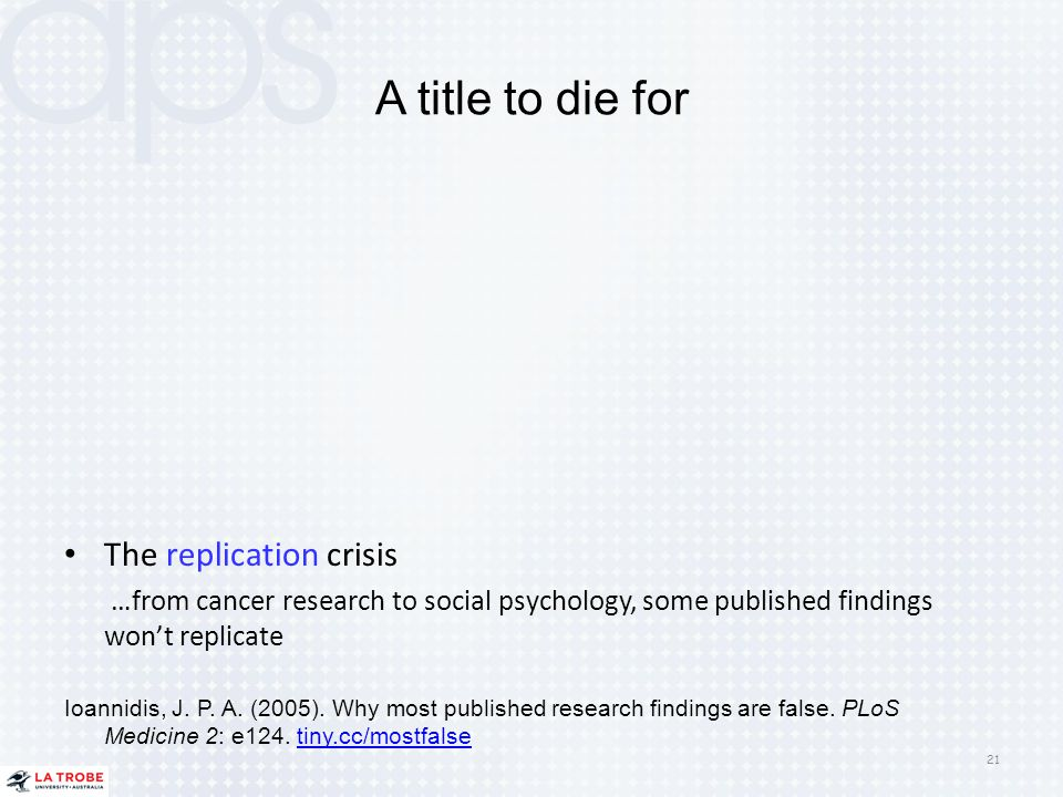 A title to die for The replication crisis
