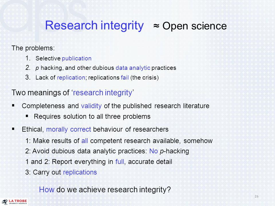 Research integrity ≈ Open science