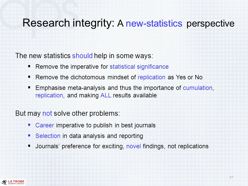Research integrity: A new-statistics perspective