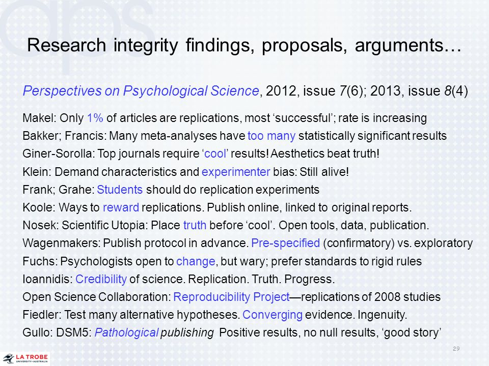 Research integrity findings, proposals, arguments…