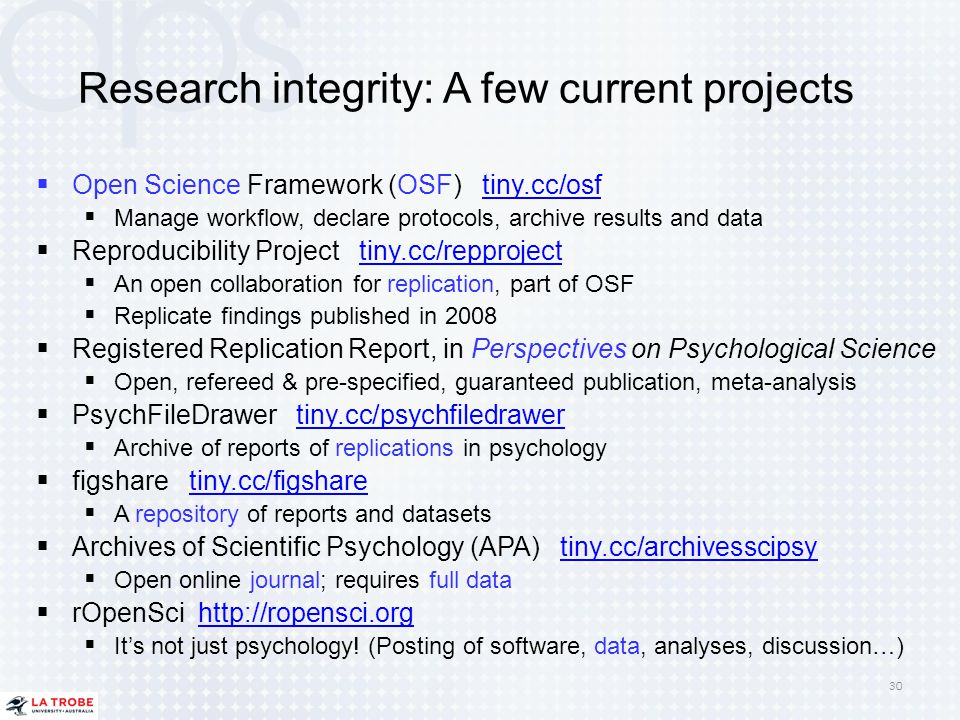 Research integrity: A few current projects