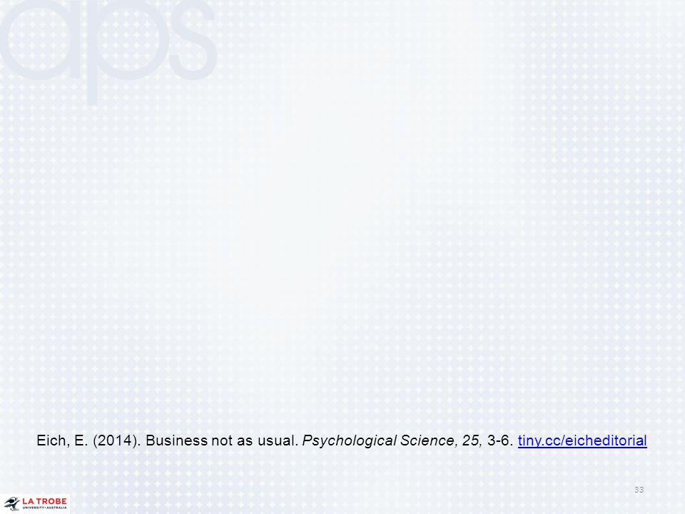 Eich, E. (2014). Business not as usual. Psychological Science, 25, 3-6
