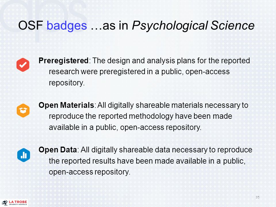 OSF badges …as in Psychological Science