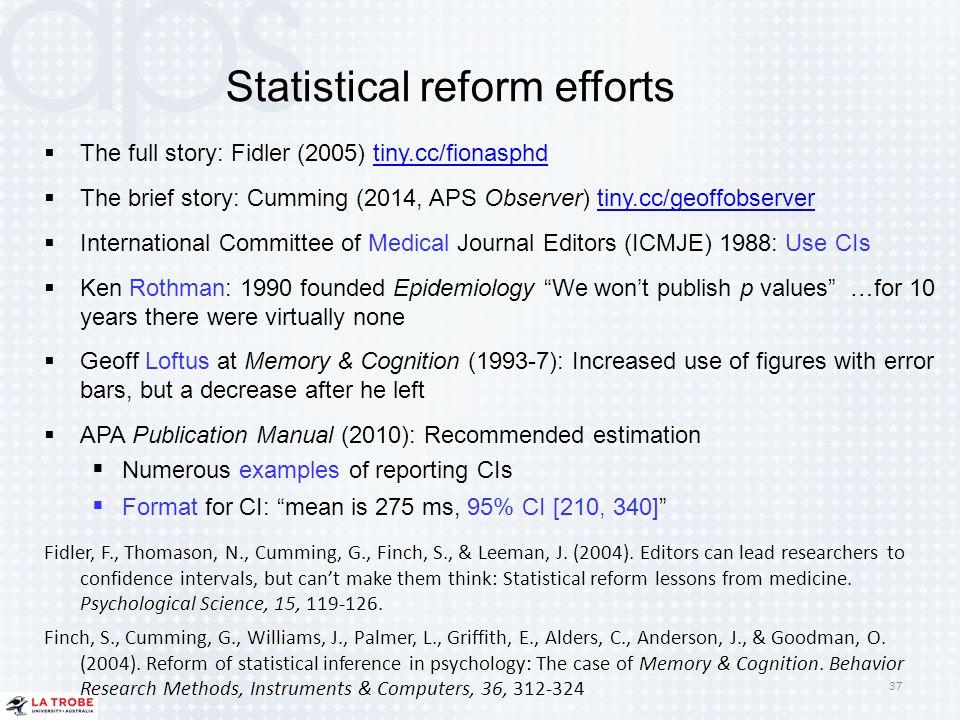 Statistical reform efforts