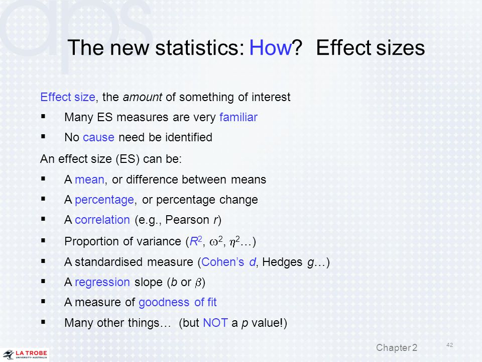 The new statistics: How Effect sizes