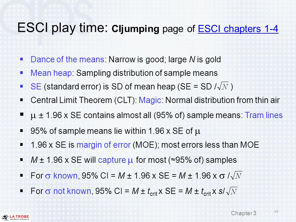 ESCI play time: CIjumping page of ESCI chapters 1-4