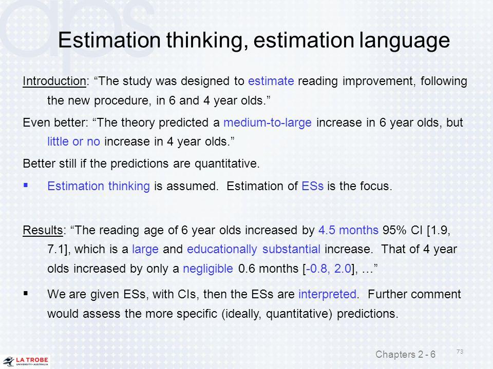 Estimation thinking, estimation language