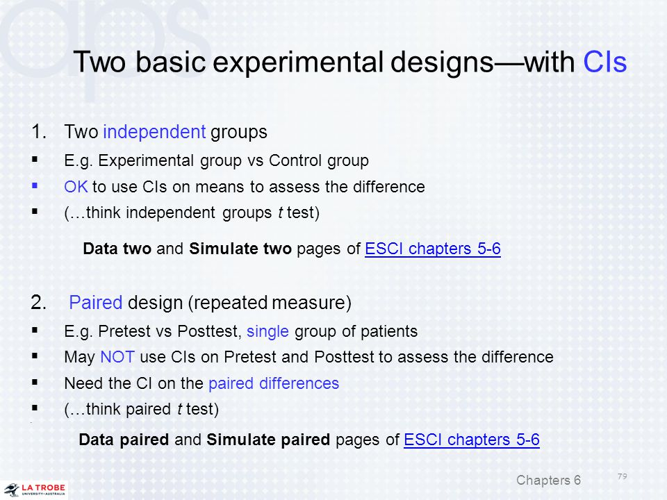 Two basic experimental designs—with CIs