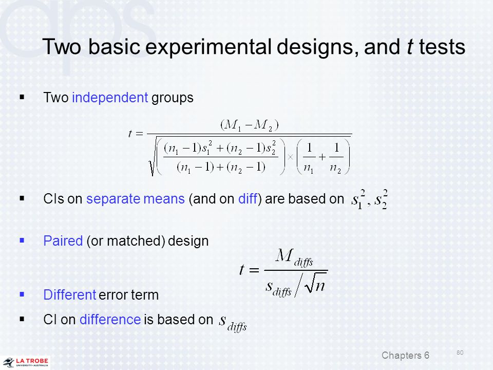 Two basic experimental designs, and t tests