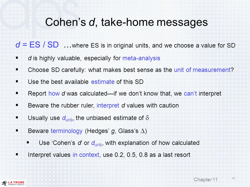 Cohen's d, take-home messages