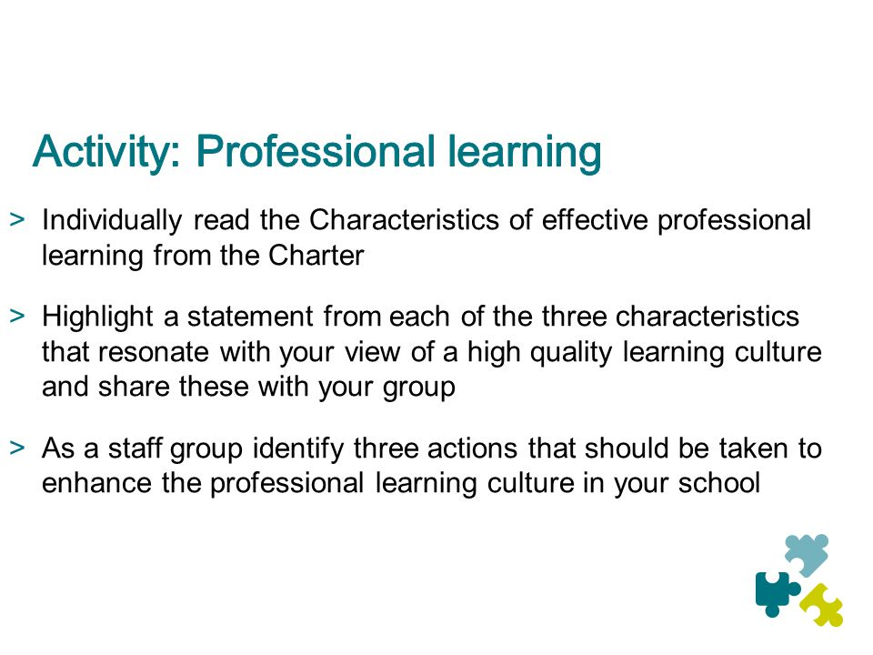 Activity: Professional learning