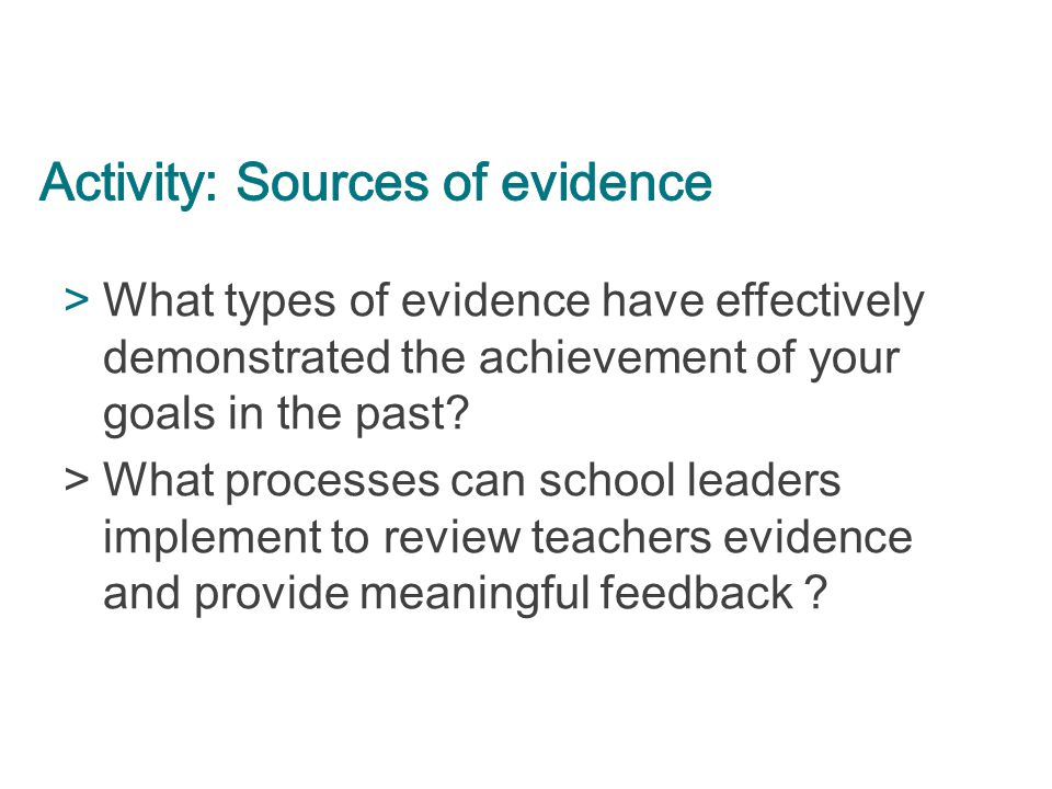 Activity: Sources of evidence