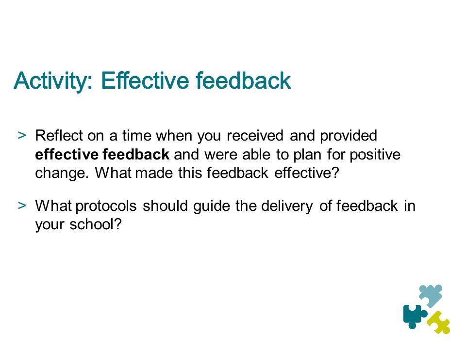 Activity: Effective feedback