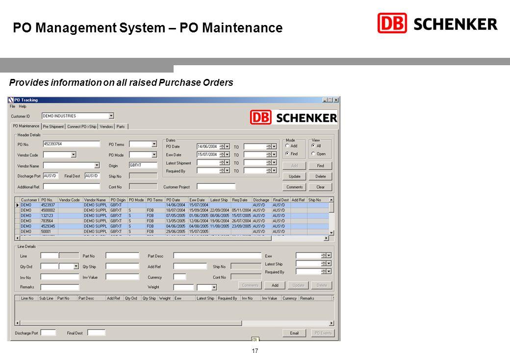 Purchase Order Management – Line Level