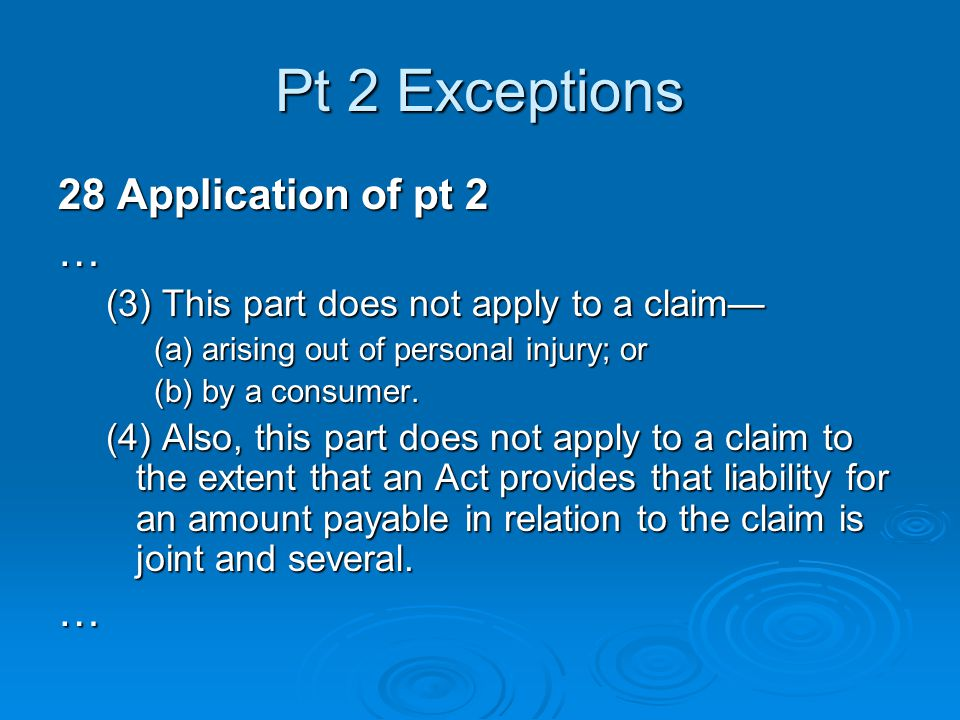 Pt 2 Exceptions 28 Application of pt 2 …