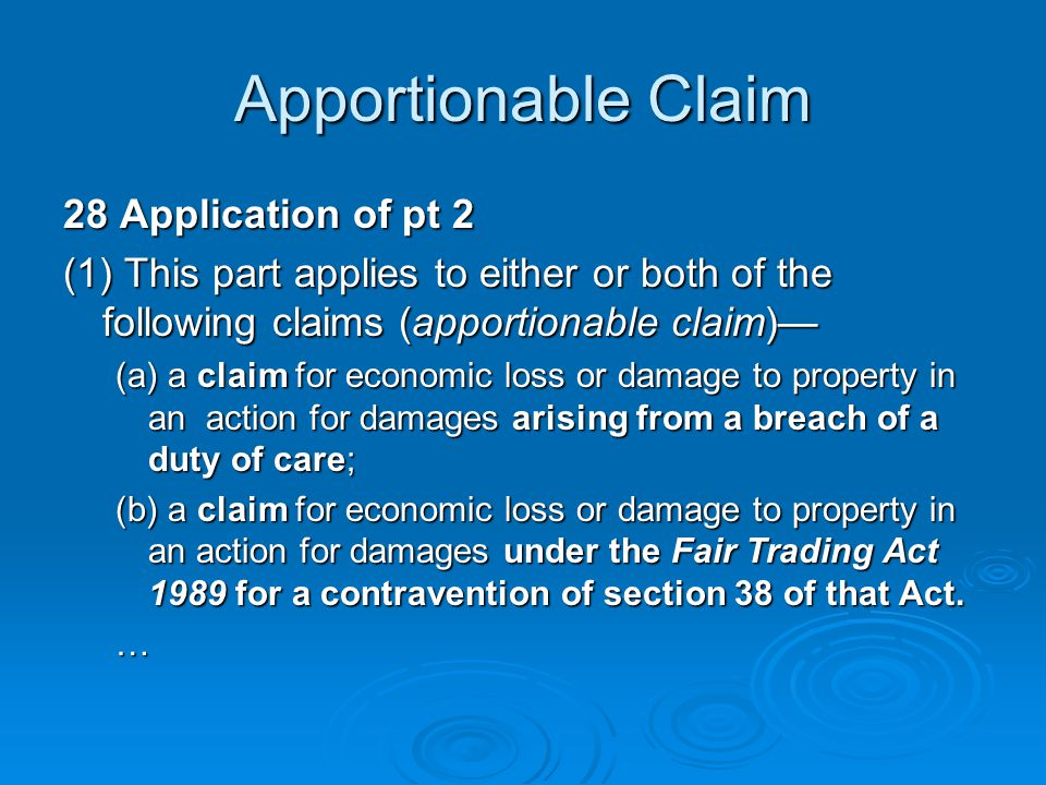 Apportionable Claim 28 Application of pt 2