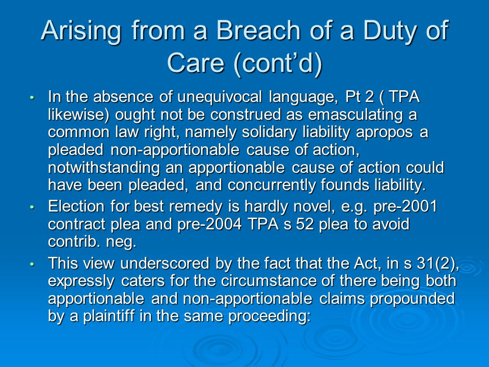 breach of duty of care essays