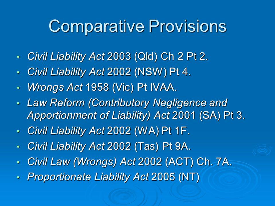 Comparative Provisions