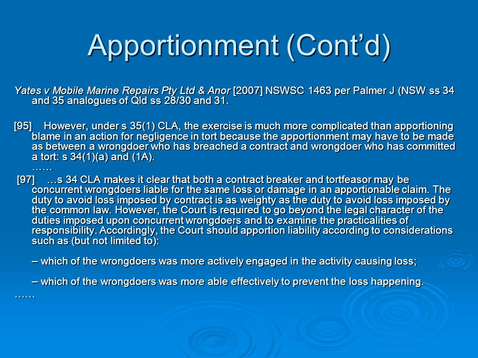 Apportionment (Cont'd)