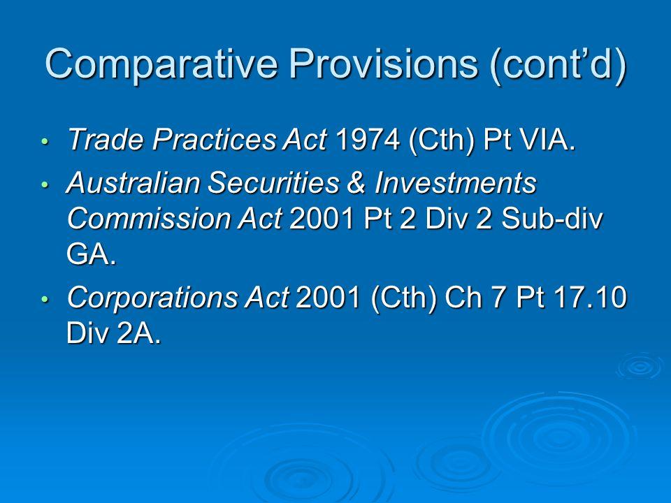 Comparative Provisions (cont'd)