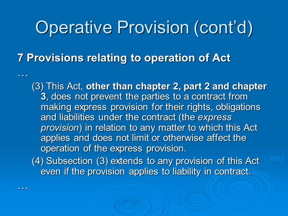 Operative Provision (cont'd)