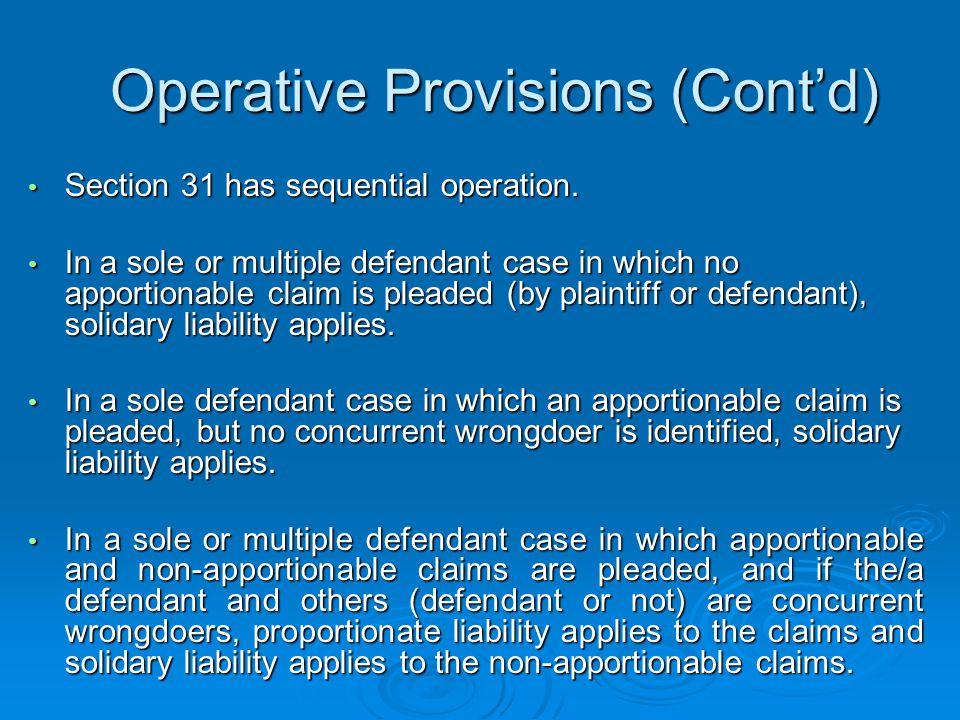 Operative Provisions (Cont'd)