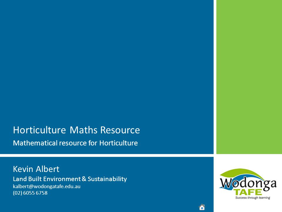 Horticulture Maths Resource Mathematical resource for Horticulture