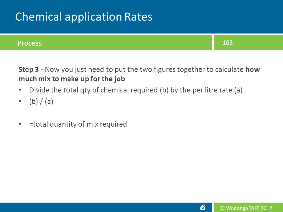 Chemical application Rates