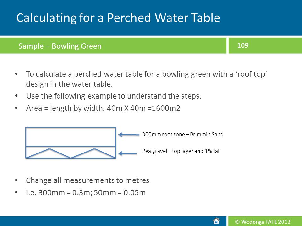 Calculating for a Perched Water Table