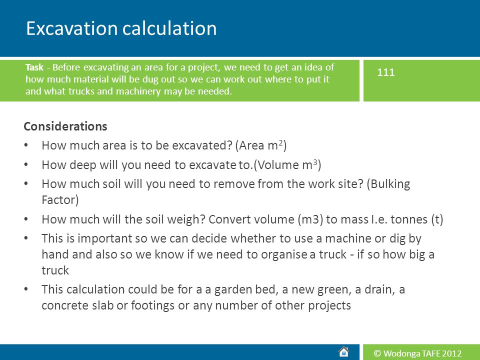 Excavation calculation