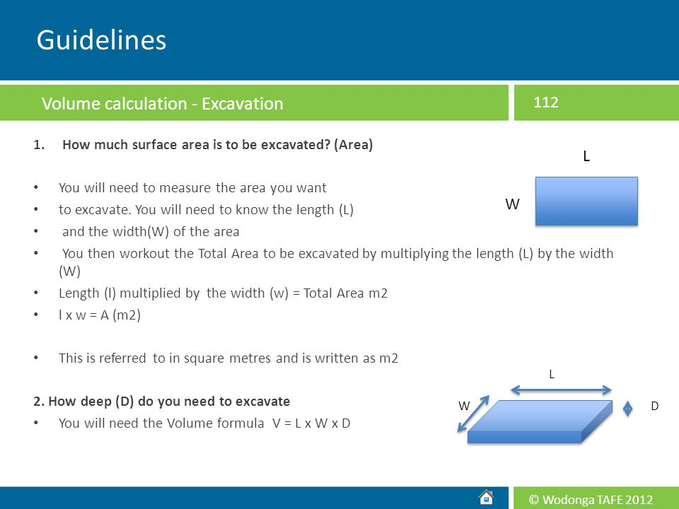 Guidelines Volume calculation - Excavation L W