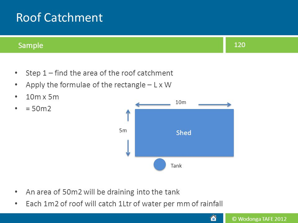 Roof Catchment Sample Step 1 – find the area of the roof catchment
