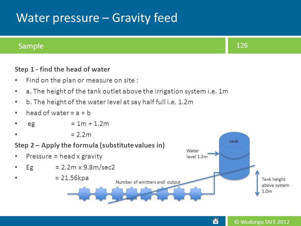 Water pressure – Gravity feed