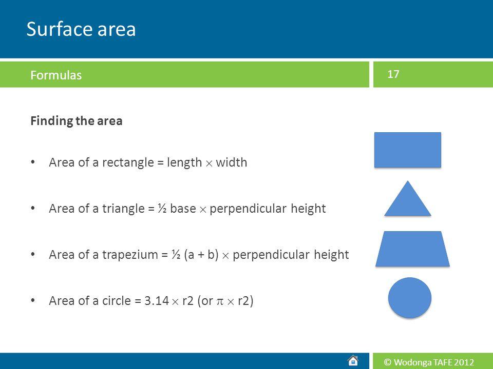 Surface area Formulas Finding the area
