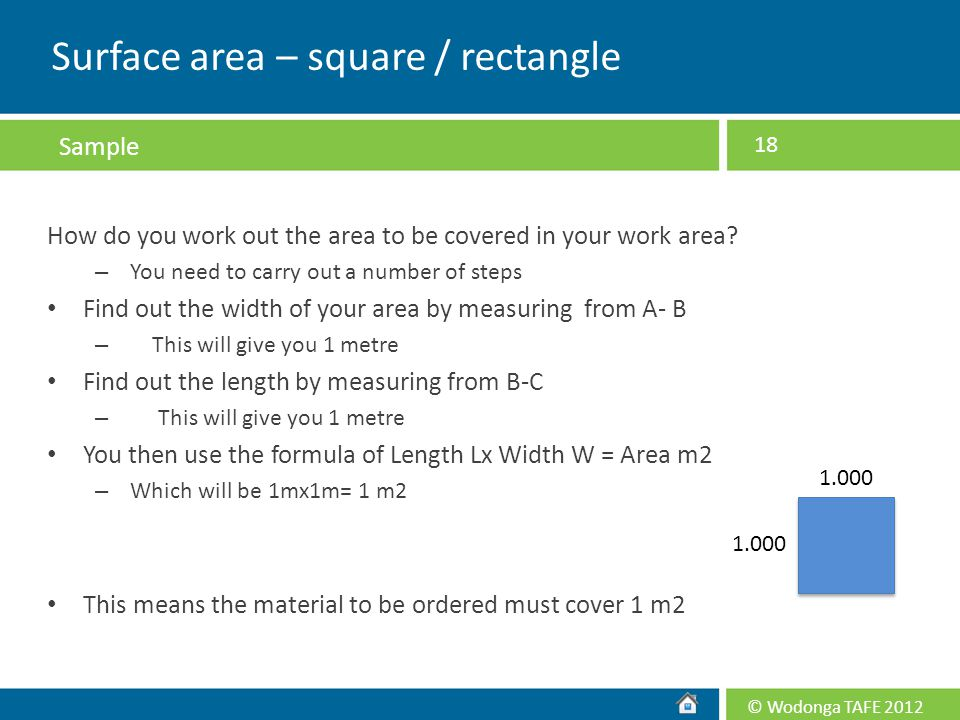 Surface area – square / rectangle