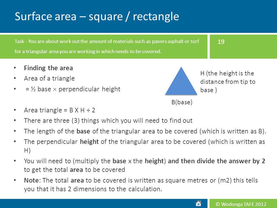 Surface area – square / rectangle
