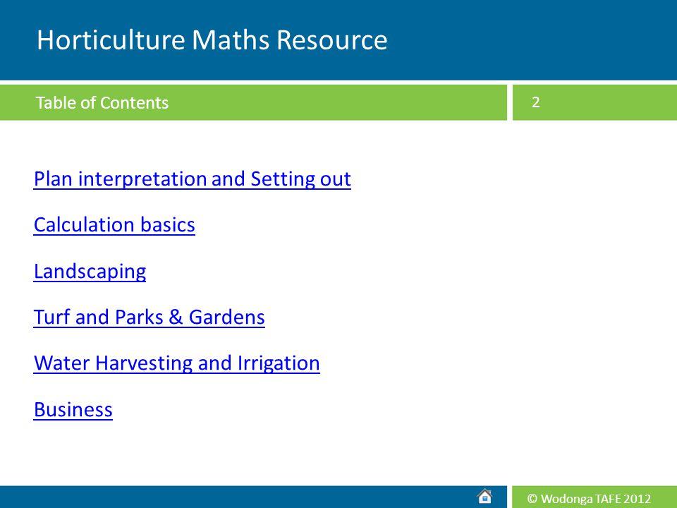 Horticulture Maths Resource