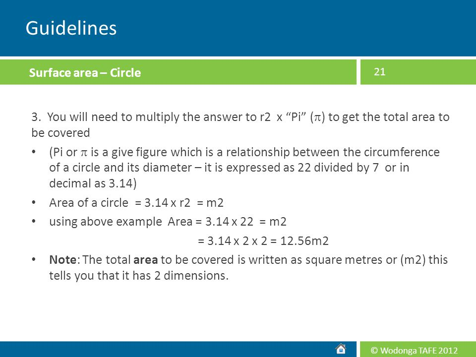 Guidelines Surface area – Circle
