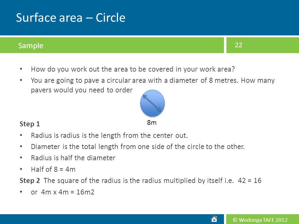 Surface area – Circle Sample