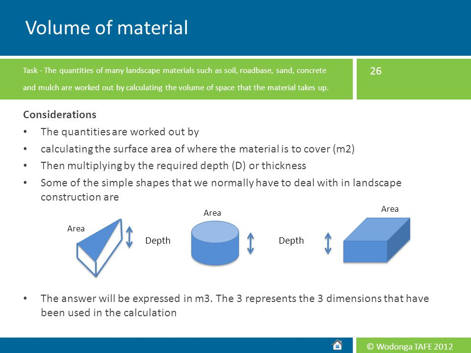 Volume of material Considerations The quantities are worked out by