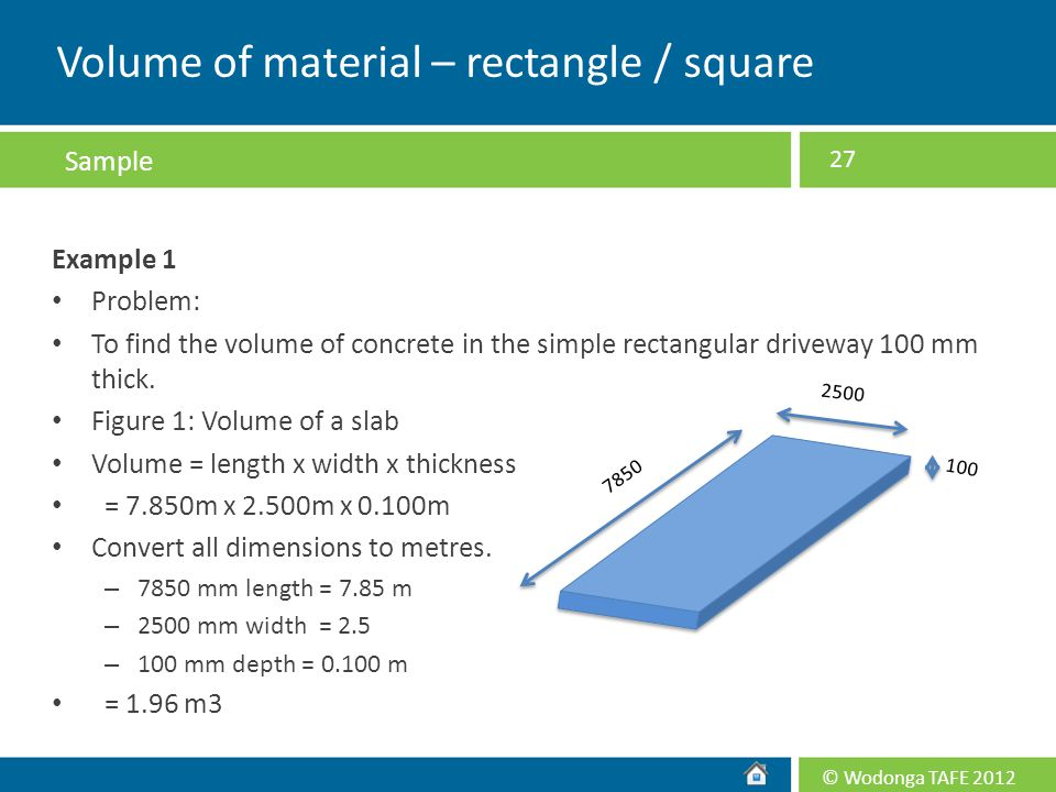 Volume of material – rectangle / square
