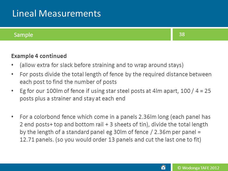 Lineal Measurements Sample Example 4 continued